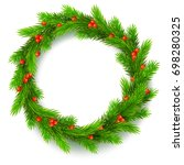 traditional christmas wreath... | Shutterstock . vector #698280325