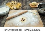 dumplings   yellow pumpkin... | Shutterstock . vector #698283301