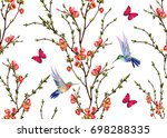 seamless vector floral pattern... | Shutterstock .eps vector #698288335