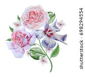 watercolor bouquet with flowers.... | Shutterstock . vector #698294554