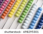 close up abacus on white... | Shutterstock . vector #698295301