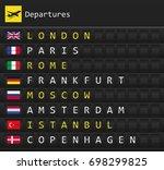 airplane departures destination ...   Shutterstock .eps vector #698299825