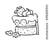 sponge cake with whipped cream... | Shutterstock .eps vector #698300941