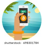 buy bitcoin and live easily... | Shutterstock .eps vector #698301784