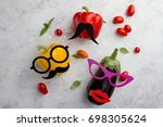 funny vegetable cute characters ...   Shutterstock . vector #698305624