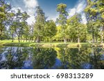 green trees and the blue river  ... | Shutterstock . vector #698313289