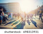 crowd of anonymous people... | Shutterstock . vector #698313931