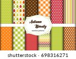 set of 12 cute seamless autumn... | Shutterstock .eps vector #698316271