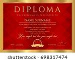 diploma  certificate of... | Shutterstock .eps vector #698317474