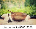tibetan singing bowls. sound of ... | Shutterstock . vector #698317921