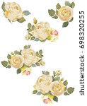 Stock vector set of vintage white roses on white background vector illustration eps 698320255