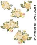 set of vintage white roses on...   Shutterstock .eps vector #698320255