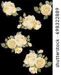 set of vintage white roses on...   Shutterstock .eps vector #698322889