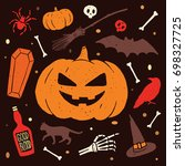 happy halloween. set of colored ... | Shutterstock .eps vector #698327725