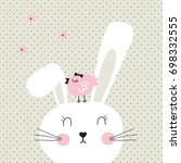 Cute Bunny With Bird On Polka...