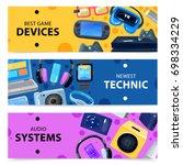 character geek nerd horizontal... | Shutterstock .eps vector #698334229