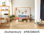 multicolor bedroom in ethnic... | Shutterstock . vector #698338645