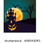 halloween background with a...   Shutterstock .eps vector #698343091