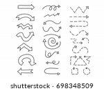 hand drawn doodle arrows set. | Shutterstock .eps vector #698348509