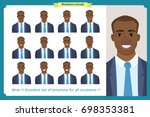 set of male facial emotions... | Shutterstock .eps vector #698353381
