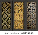 Old Wood frame with Thai art background on wall - stock photo