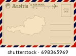 vintage postcard with map of... | Shutterstock .eps vector #698365969