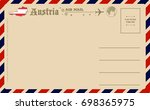 vintage postcard with map of... | Shutterstock .eps vector #698365975