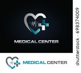 heart medical center logo... | Shutterstock .eps vector #698374009