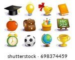 school icons and symbols set ... | Shutterstock .eps vector #698374459