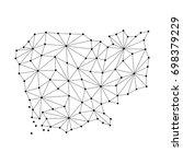cambodia map of polygonal... | Shutterstock .eps vector #698379229