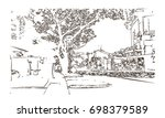 hand drawn sketch of singapore... | Shutterstock .eps vector #698379589