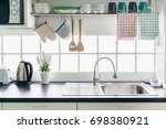 home kitchen interior. cooking... | Shutterstock . vector #698380921