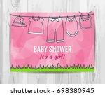 baby girl shower invitation... | Shutterstock .eps vector #698380945