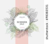exotic leaf round banner.... | Shutterstock . vector #698383531