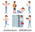 fitness woman training in gym. ... | Shutterstock . vector #698384164