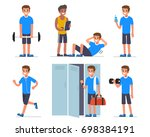 fitness man training in gym.... | Shutterstock . vector #698384191