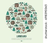 logging and lumberjack with... | Shutterstock .eps vector #698390365