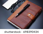 leather management diary   ... | Shutterstock . vector #698390434