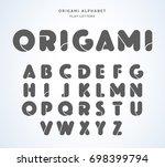 vector origami alphabet. flat... | Shutterstock .eps vector #698399794