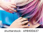 hairdressers hands in colorful... | Shutterstock . vector #698400637