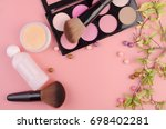 set of decorative cosmetics on... | Shutterstock . vector #698402281