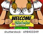 closeup of young sexy waitress... | Shutterstock .eps vector #698403349