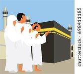 muslim pilgrims perform hajj  ... | Shutterstock .eps vector #698411185