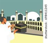 muslim pilgrims perform hajj  ... | Shutterstock .eps vector #698411245