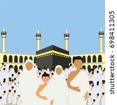 muslim pilgrims perform hajj  ... | Shutterstock .eps vector #698411305