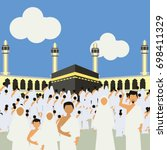 muslim pilgrims perform hajj  ... | Shutterstock .eps vector #698411329