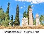 graves and gravestones in... | Shutterstock . vector #698414785