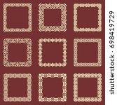 set of square vintage frames... | Shutterstock .eps vector #698419729