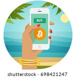 buy bitcoin and live easily... | Shutterstock .eps vector #698421247