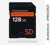 top view sd memory card. memory ... | Shutterstock .eps vector #698423815